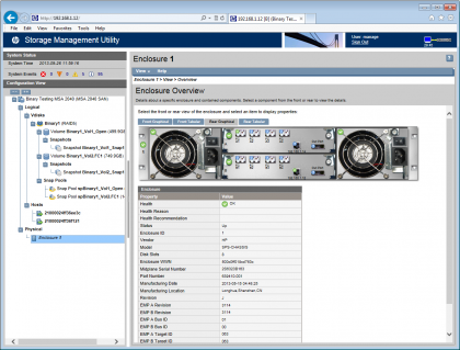 رابط کاربری Well Designed Web Interface در HP MSA 2040